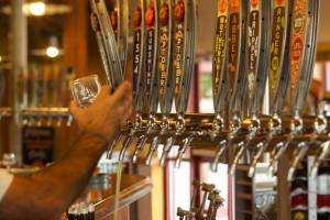 A variety of New Belgium brews are on tap when you visit the factory.