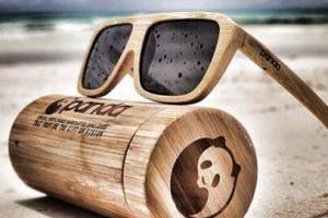 Panda sunglasses are made of eco-friendly bamboo.