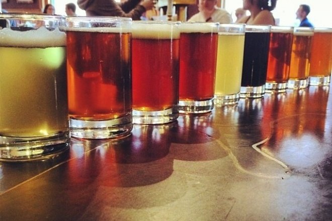 A sampling of the brews at Wynkoop Brewing Company.