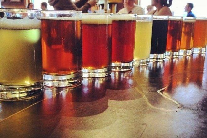A sampling of the brews at Wynkoop Brewing Company.
